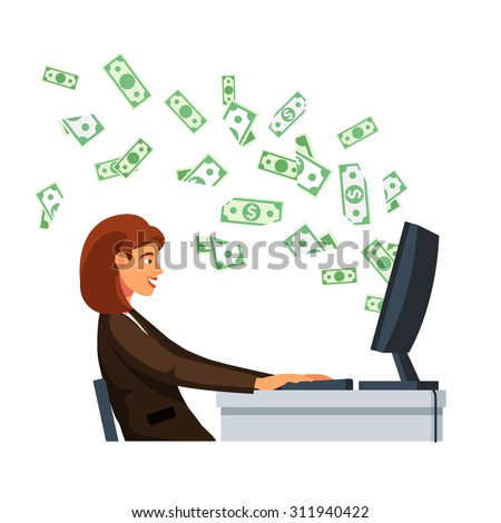 Young businesswoman sitting in front of desktop computer screen with flying out cash dollar money banknotes at the office desk. Flat style vector illustration isolated on white background. - stock vector