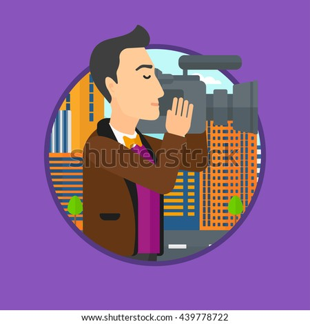 Young cameraman looking through movie camera. Man with professional video camera in the city. Cameraman shooting outdoor. Vector flat design illustration in the circle isolated on background. - stock vector
