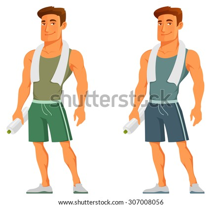 young cartoon guy after work out, with towel and water bottle - stock vector