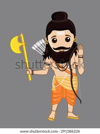 Young Cartoon Parshuram Character - stock vector