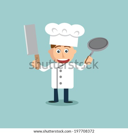 Young chef with knife and pan in his hands. - stock vector