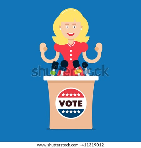 Young confident politician female standing by the podium and applause to the people. Fully vector illustration, easy to edit. Flat style. - stock vector
