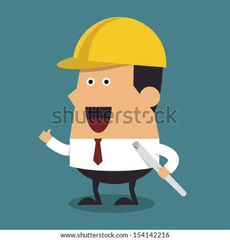 Young construction worker wearing helmet and holding blueprint. - stock vector