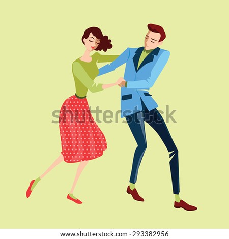 Young couple dancing lindy hop on a yellow background, vector illustration in a flat style
