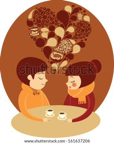 Young couple enjoying coffee together - stock vector