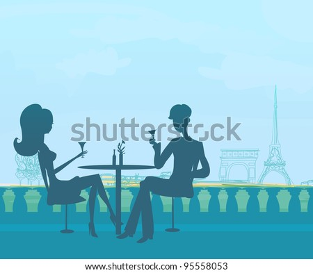 Young couple flirt and drink champagne in Paris - stock vector