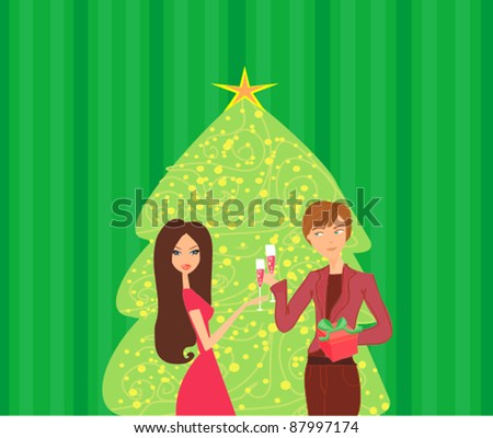 Young couple flirt and drink champagne near by Christmas Tree - stock vector