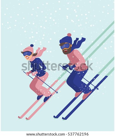 Young couple have fun while skiing in the winter