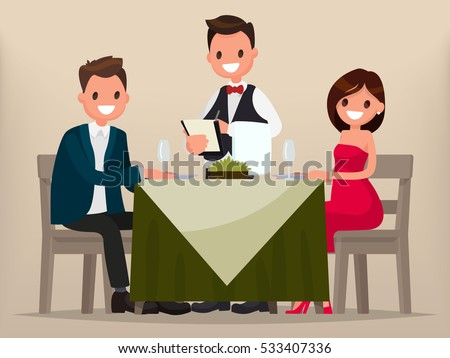 Young couple having dinner in a restaurant. Man and woman sitting at the table, the waiter takes order dishes. Vector illustration in a flat style