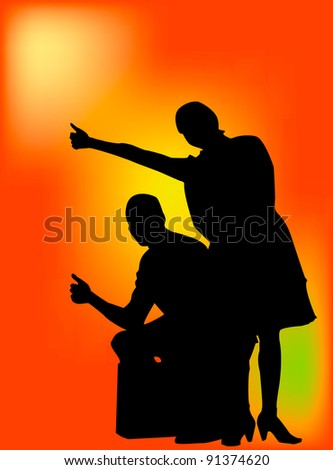 Young couple hitch hiking and sitting on suit case. This is a vector silhouette with orange gradient back ground. - stock vector