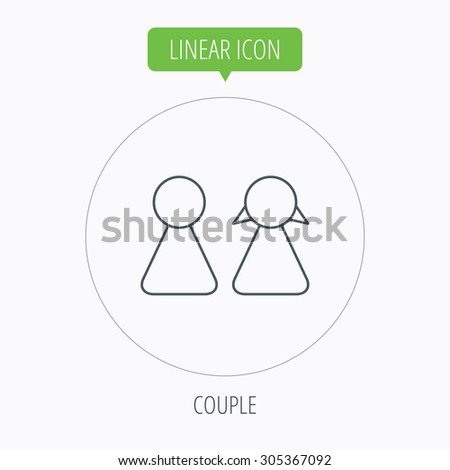 Young couple icon. Male and female sign. Linear outline circle button. Vector - stock vector