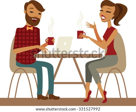 Young couple in a cafe isolated on white