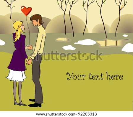 Young couple in love in a park. Vector illustration - stock vector