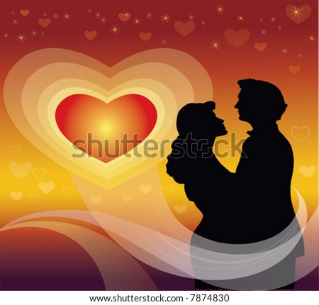 Young couple in silhouette against heart