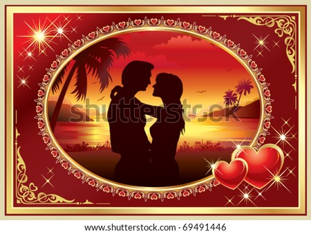 Young couple in silhouette, romance evening
