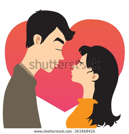 Young couple on the background with red heart, vector image - stock vector