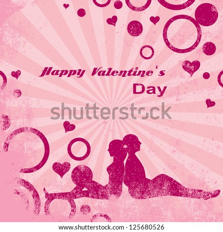 Young Couple On Valentine's Day On Vintage Background - Vector Illustration, Graphic Design Editable For Your Design