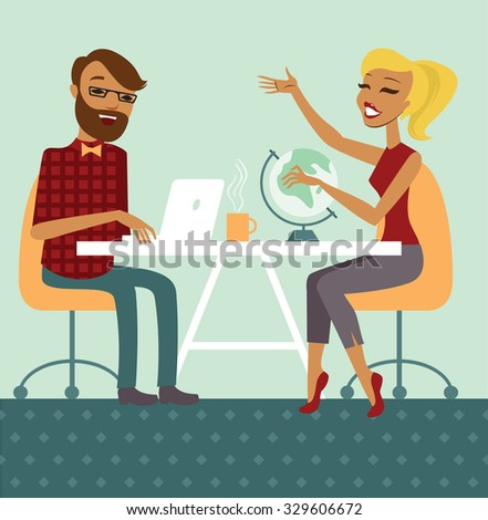 Young couple planning next trip together - stock vector