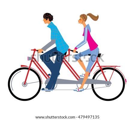 Young Couple Riding Tandem Bicycle Man Stock Vector 479497135