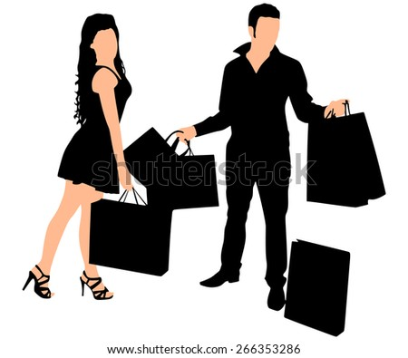 Young couple shopping and holding many shopping bags, vector  - stock vector