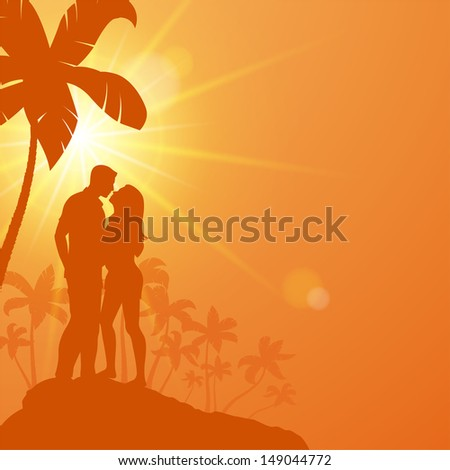Young couple standing under palm trees and kisses. Vector illustration a loving couple - stock vector