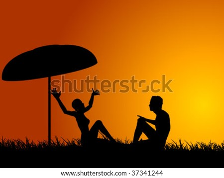 young couple under umbrella