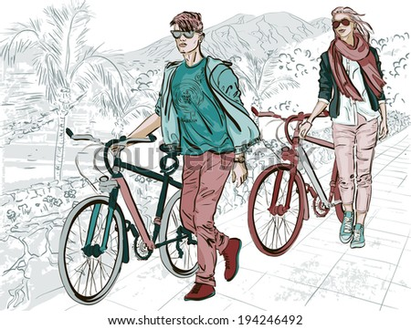 young couple walking on embankment with bicycles - stock vector