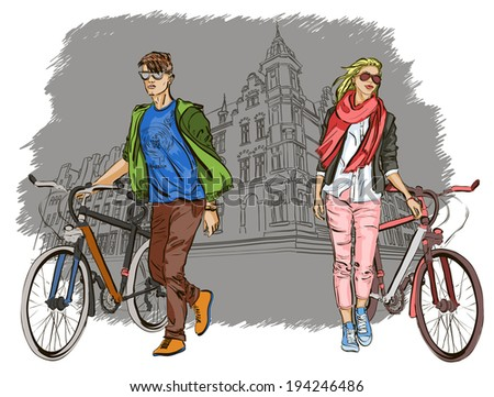 young couple with bicycles on city background  - stock vector