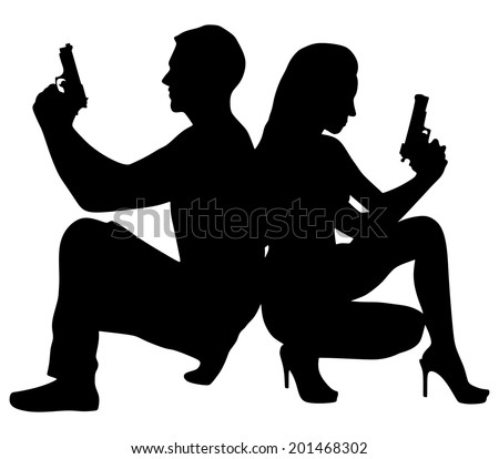 young couple with handguns, vector  - stock vector