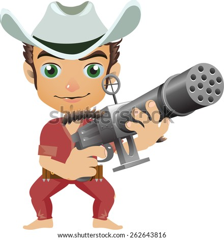 young cowboy in a hat with a multi-barreled weapon with a sight - stock vector