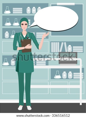 Young cute doctor providing information with a smile on a speech bubble background.Health care isolated on white. Clipping mask is used in the EPS file. - stock vector