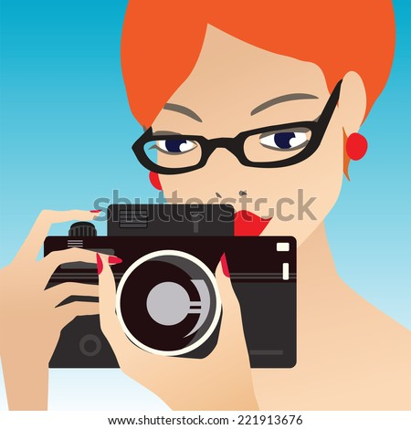 Young cute woman smiling and holding the camera While Pressing The Shutter Button. Blue gradient background. Vector. Eps 10. - stock vector
