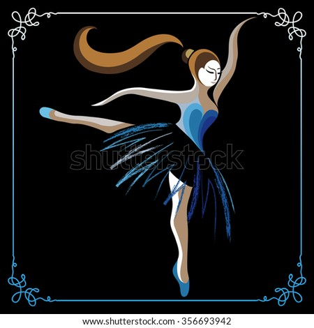 Young dancer (ballerina). Suitable for invitation, flyer, sticker, poster, banner, card,label, cover, web. Vector illustration.