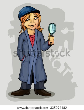 young detective holding magnifier vector cartoon illustration - stock vector