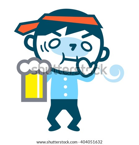 Young drunk businessman - stock vector