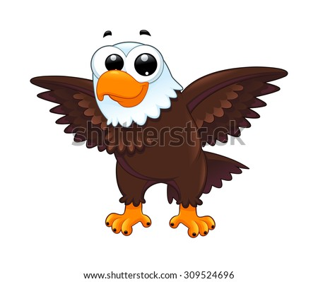 Young eagle. Funny cartoon vector isolated animal. - stock vector