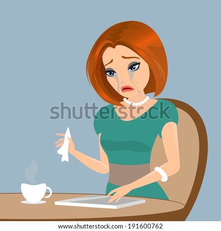 Young elegant woman is crying in the cafe - close up illustration. - stock vector