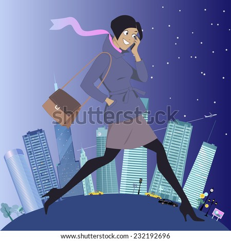 Young energetic woman walking and talking on her cell-phone, urban landscape on the background showing changes from daytime to evening, vector illustration, no transparencies, EPS 8 - stock vector