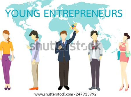 Young entrepreneur, flat design business people  - stock vector
