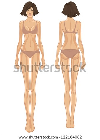 Young european woman's body template: front and back. - stock vector