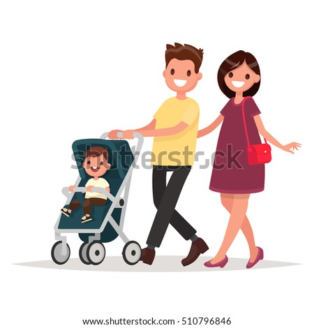 Young family. Parents with a toddler. Mom and Dad are walking with their firstborn. Vector illustration in a flat style