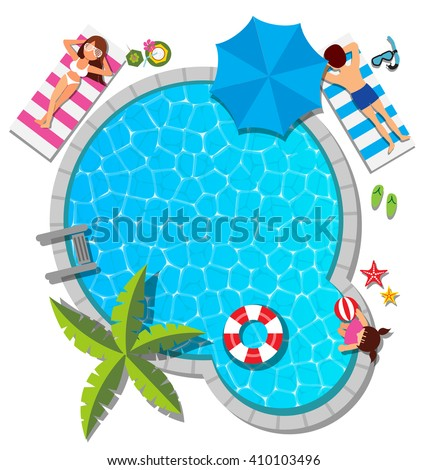 Young family relaxing at swimming pool for summer concept - stock vector