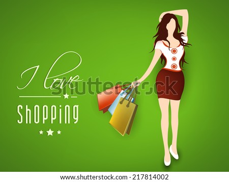 Young fashionable girl with shopping bags, I Love Shopping text on green background.  - stock vector