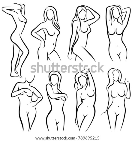 Young Female Body Outline Silhouettes Vector Stock Vector 789695215 ...