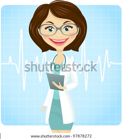 Young female doctor - stock vector
