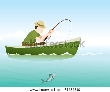 young fisherman catching a fish - stock vector