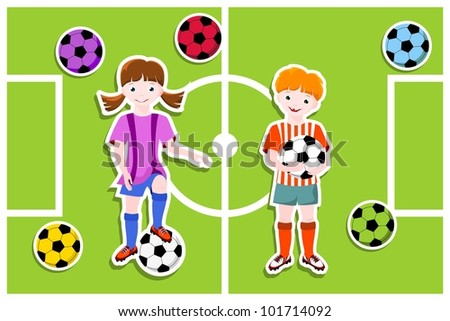 young football players with ball,  football (soccer) theme - vector illustration - stock vector