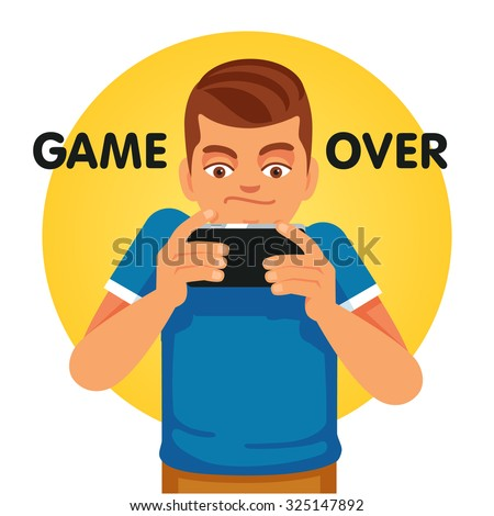 Young gamer and smartphone addict unhappy about game over. Flat style vector illustration isolated on white background. - stock vector