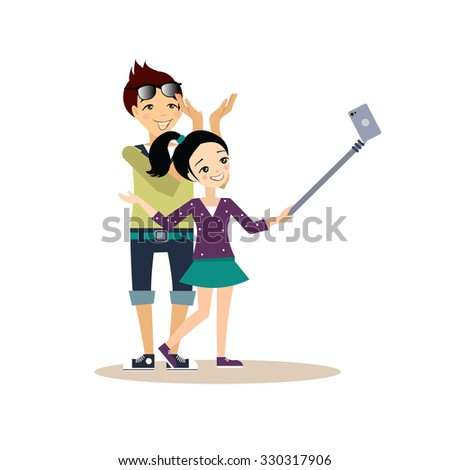 Young girl and guy taking selfie with a cell holding it on a stick. Vector illustration in flat style