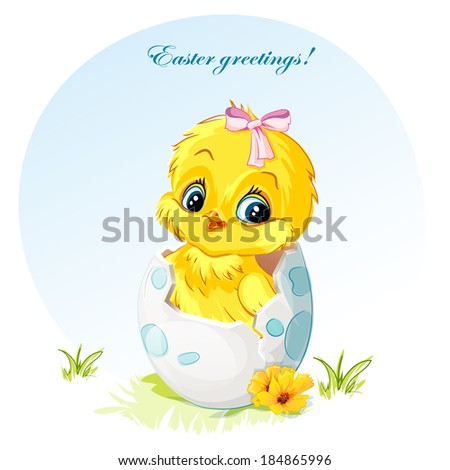 Young girl chick with pink bow - stock vector